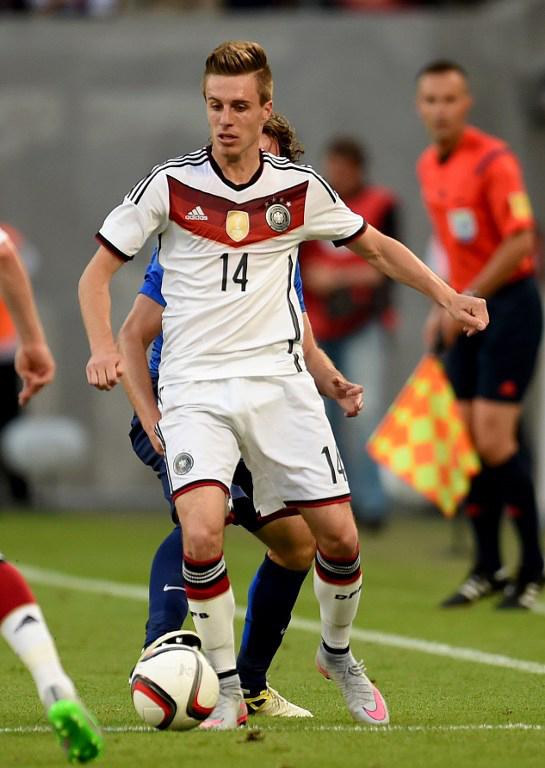 Patrick Herrmann im DFB Trikot beim Länderspiel gegen die USA. AFP PHOTO / PATRIK STOLLARZ
