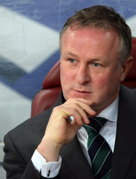 Northern Ireland's national team's head coach Michael O'Neill is pictured prior to the UEFA 2016 European Championship qualifying round Group F football match Romania vs Northern Ireland at the Arena Nationala stadium in Bucharest on November 14, 2014. Romania won the match 2-0. AFP PHOTO / DANIEL MIHAILESCU