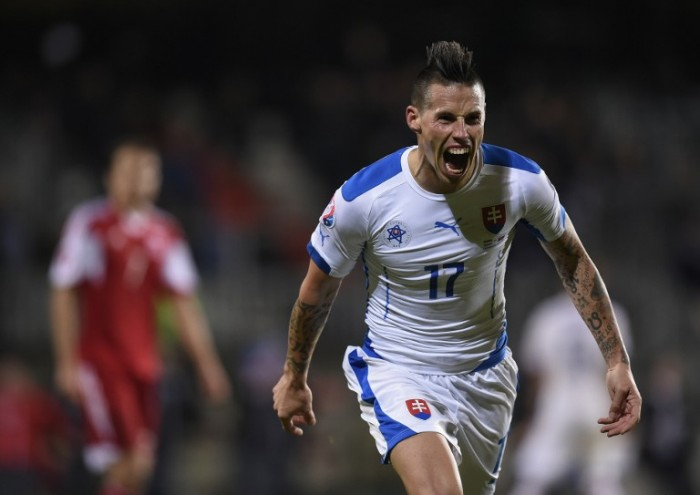Slovakia's midfielder Marek Hamsik celebrates after scoring during the Euro 2016 qualifying football match between Luxembourg and Slovakia at the Josy Barthel Stadium, on October 12, 2015 in Luxembourg. AFP PHOTO / JOHN THYS / AFP / JOHN THYS
