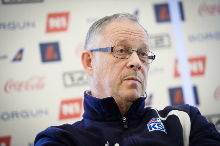 Iceland's national football team head coach Lars Lagerback gives a press conference in Brussels on November 11, 2014 on the eve of a friendly football match against Belgium. AFP PHOTO / BELGA PHOTO / LAURIE DIEFFEMBACQ
