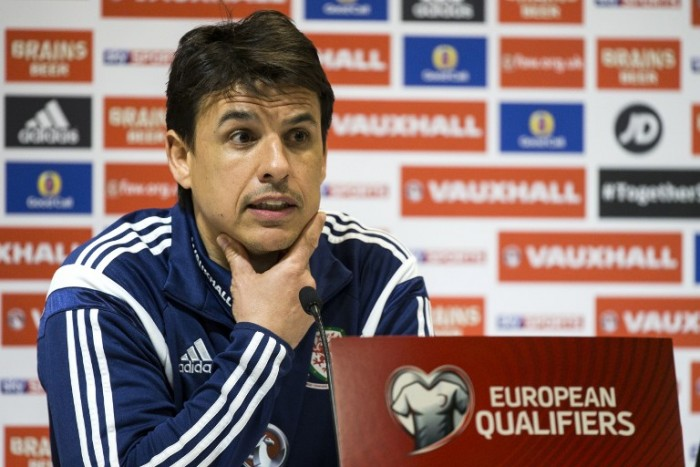 Wales' Head Coach Chris Coleman speaks during a press conference at the Sammy Ofer Stadium in the Israeli coastal city of Haifa, on March 27, 2015, on the eve of the Euro 2016 qualifying match between Israel and Wales. AFP PHOTO / JACK GUEZ
