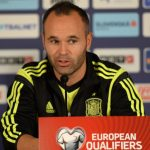 Spain's national football team Andres Iniesta speaks during a press conference on the eve of EURO 2016 qualifing match between Slovakia and Spain in Northern Slovakian town of Zilina on October 8, 2014. AFP PHOTO/JOE KLAMAR / AFP PHOTO / JOE KLAMAR
