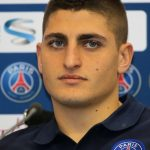Paris Saint Germain's Italian midfielder Marco Verratti attends a press conference during team's winter training camp in the Qatari capital Doha on December 29, 2015, one day ahead of their friendly football match with Inter Milan.  / AFP PHOTO / KARIM JAAFAR