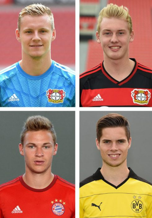 Im DFB-Kader: Leverkusenes Bernd Leno und Julian Brandt, Münchens Joshua Kimmich und Dortmund's Julian Weigl. AFP PHOTO / PATRIK STOLLARZ