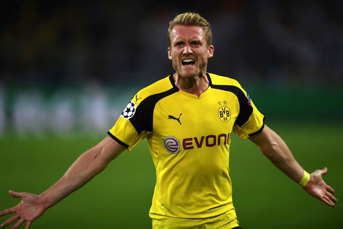 Dortmund's Mittelfeldspieler Andre Schürrle nach dem 2:2 im UEFA Champions League Spiel gegen Real Madrid at BVB stadium in Dortmund am 27. September 2016. / AFP PHOTO / PATRIK STOLLARZ