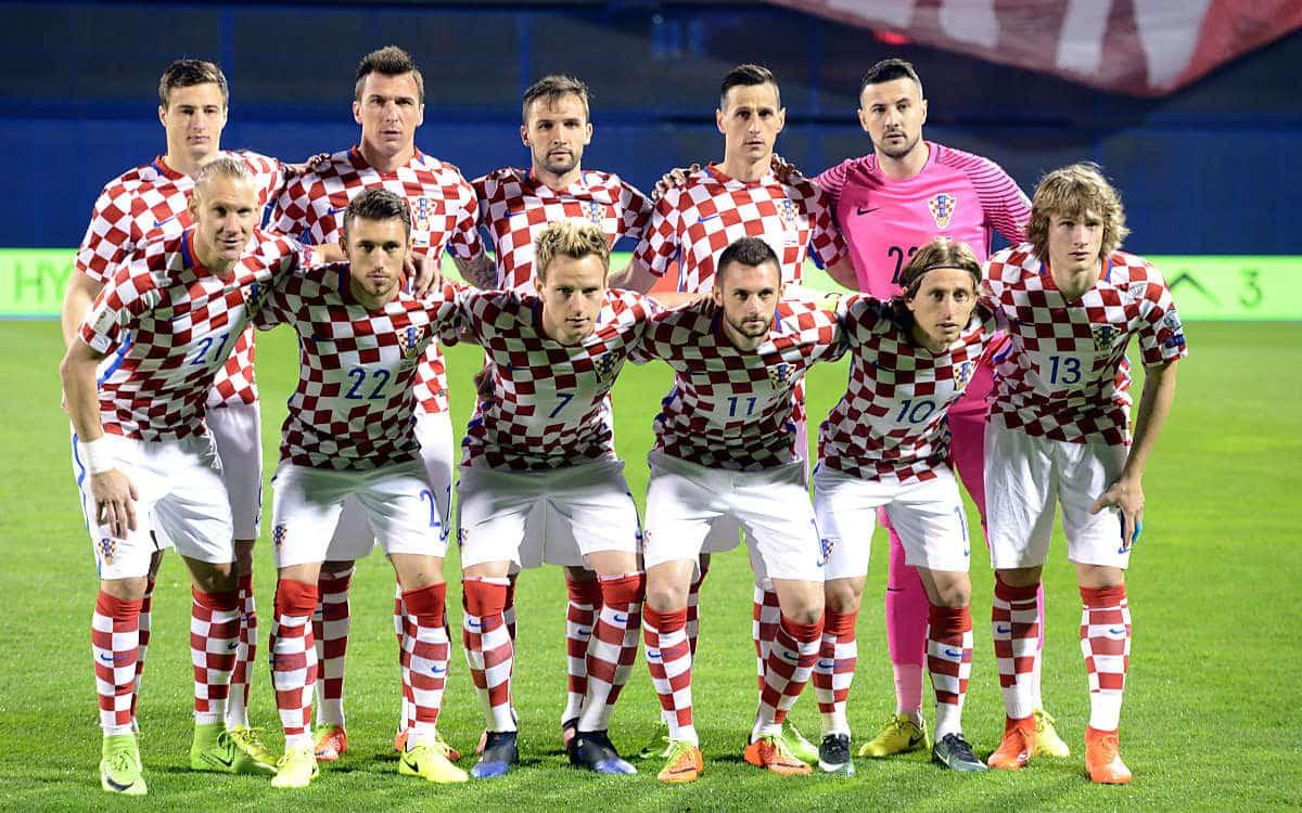 Kroatiens Nationalmannschaft gegen die Ukraine in Zagreb am 24.März 2017. / AFP PHOTO / STRINGER