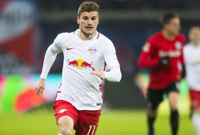 Leipzig's Stürmer Timo Werner in der Bundesliga am 21.Januar 2017./ AFP PHOTO / ROBERT MICHAEL