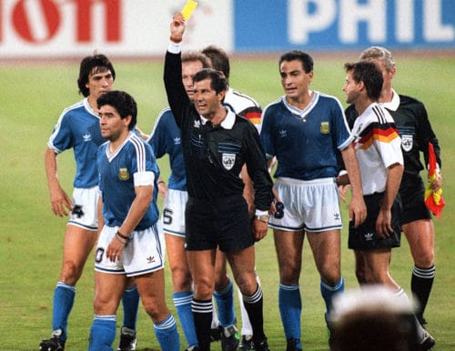 Diego Maradona im WM-Finale am 08.Juli 1990 gegen Deutschland. Namensgeber von Diego Demme. AFP PHOTO / AFP PHOTO / STAFF