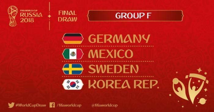 Die Wm 2018 Gruppe F mit Deutschland, Mexiko, Schweden und Südkorea (Foto FIFA)