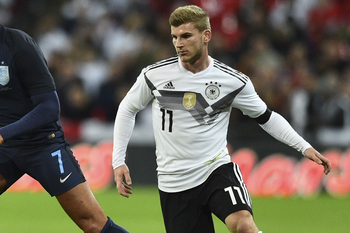 Timo Werner im neuen Deutschland Trikot 2018 mit der Rückennummer 11 gegen England im Herbst 2017. (Foto aFP)