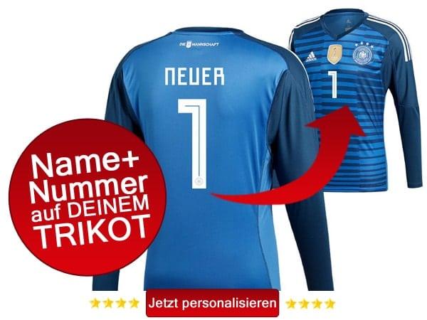 Das neue DFB Torwarttrikot jetzt mit eigenem Namen und Trikotnummer personalisieren.