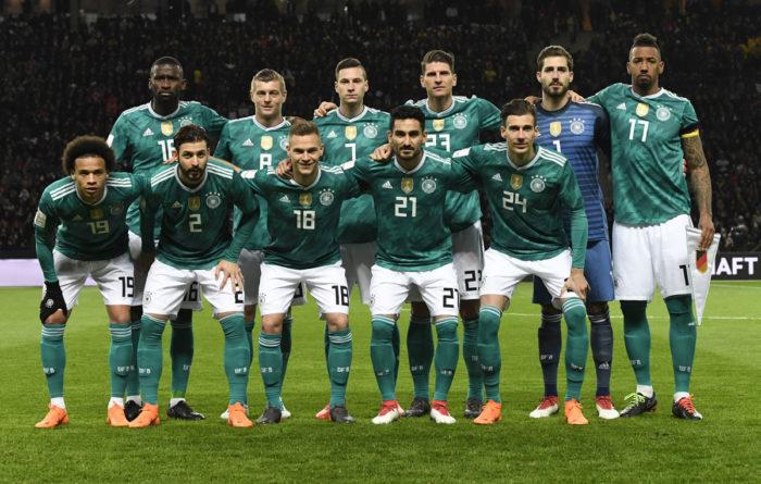 Die deutsche Startaufstellung von Deutschland gegen Brasilien am 27.März 2018 in Berlin im neuen DFB Away Trikot vom adidas (Foto AFP)
