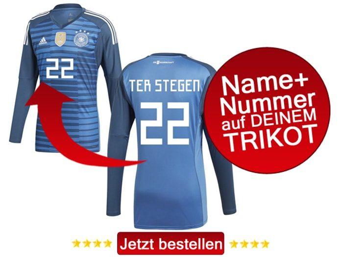 Das neue DFB Torwarttrikot von Ter Stegen jetzt mit eigenem Namen und Trikotnummer personalisieren.