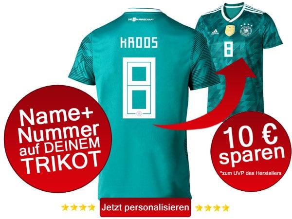 Das neue DFB Away Trikot 2018 - jetzt mit eigenem Namen personalisieren.