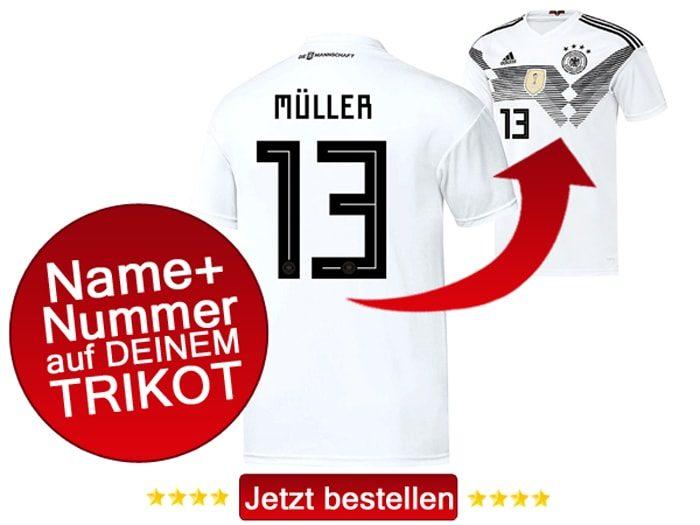 Das neue DFB Trikot mit Beflockung von Thomas Müller mit der Nummer 13 kaufen.