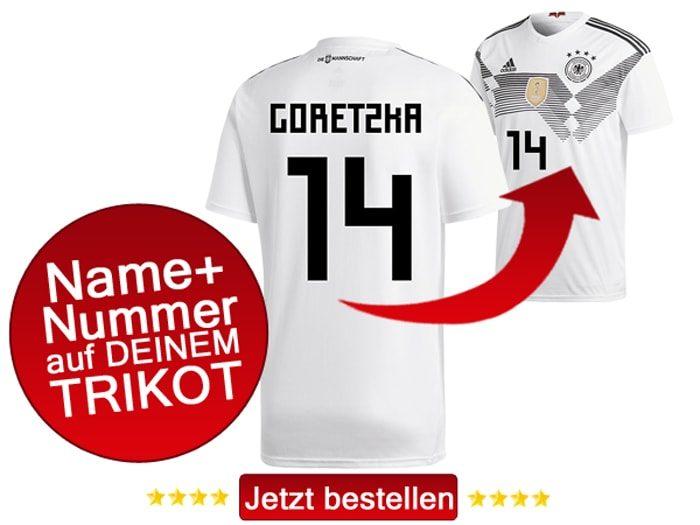Das neue DFB Trikot mit Beflockung von Leon Goretzka mit der Nummer 14 kaufen.