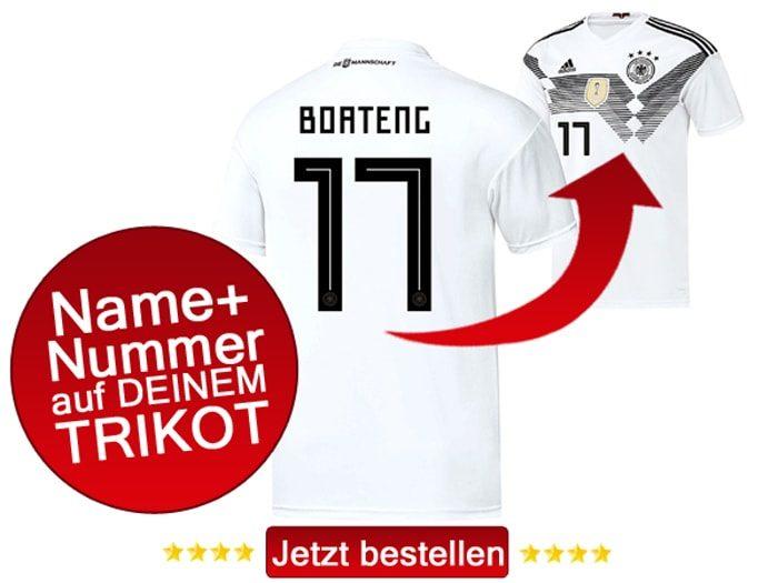 Das neue DFB Trikot mit Beflockung von Jerome Boateng mit der Nummer 17 kaufen.