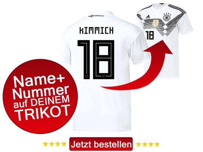 Das neue DFB Trikot mit Beflockung von Joshua Kimmich mit der Nummer 19 kaufen.