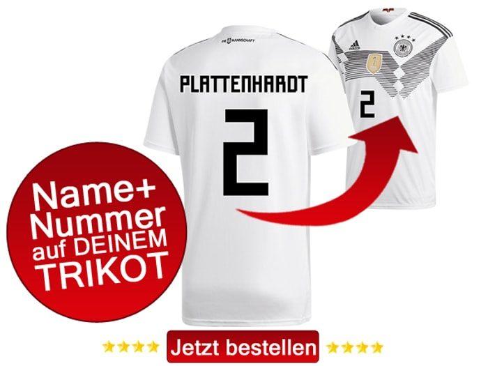 Das neue DFB Trikot mit Beflockung von Marvin Plattenhardt mit der Nummer 2 kaufen.