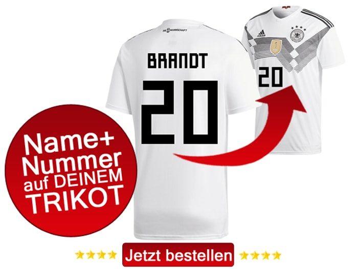 Das neue DFB Trikot mit Beflockung von Julian Brandt mit der Nummer 20 kaufen.