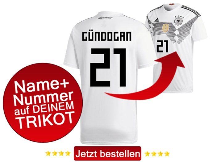 Das neue DFB Trikot mit Beflockung von Ilkay Gündogan mit der Nummer 21 kaufen.
