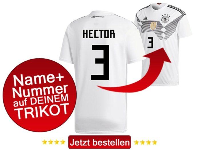 Das neue DFB Trikot mit Beflockung von Jonas Hector mit der Nummer 3 kaufen.