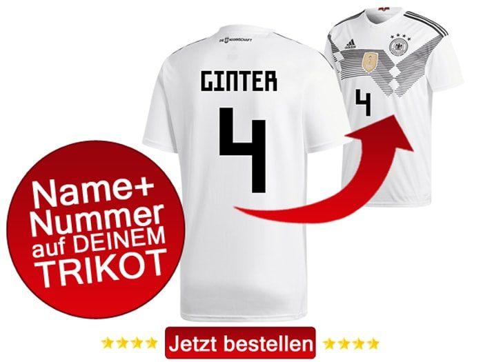 Das neue DFB Trikot mit Beflockung von Matthias Ginter mit der Nummer 4 kaufen.