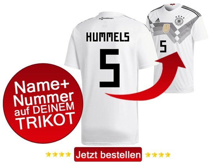 Das neue DFB Trikot mit Beflockung von Mats Hummels mit der Nummer 5 kaufen.