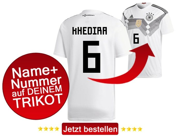 Das neue DFB Trikot mit Beflockung von Sami Khedira mit der Nummer 6 kaufen.