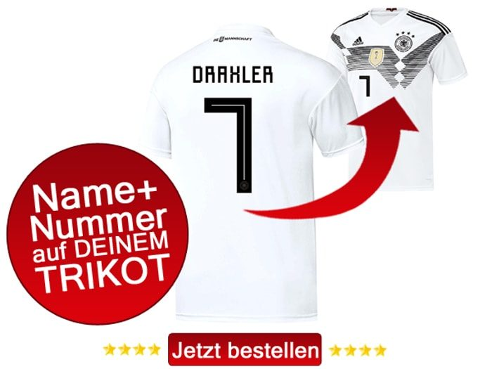 Das neue DFB Trikot mit Beflockung von Julian Draxler mit der Nummer 7 kaufen.