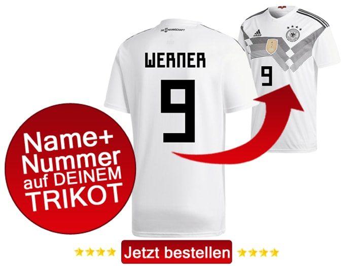 Das neue DFB Trikot mit Beflockung von Timo Werner mit der Nummer 9 kaufen.