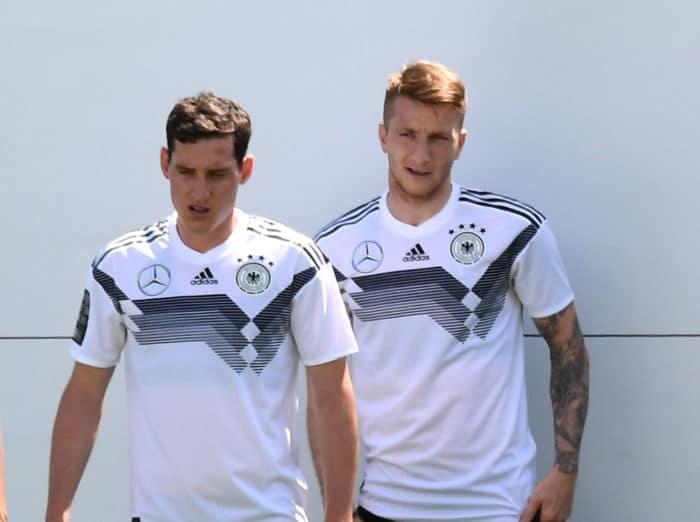 Marco Reus im DFB Trainings-T-shirt im DFB-Trainingslager 2018 in Südtirol (Foto AFP)