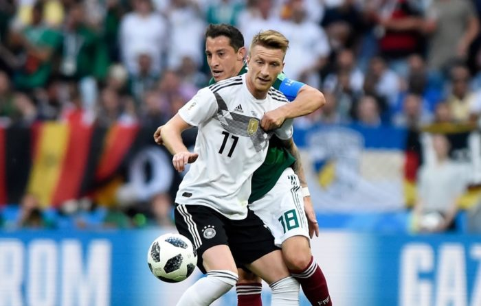 Marco Reus mit der Nummer 11 im deutschen Heimtrikot gegen Mexiko am 17.6.2018 bei der Fußball Weltmeisterschaft 2018. Foto Marco Iacobucci EPP / Shutterstock.com
