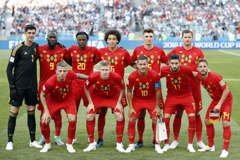 Belgiens Startaufstellung gegen Panama im Fisht Stadium in Sochi am 18.Juni 2018 im 1.Vorrundenspiel im roten Heimtrikot Belgiemns. / AFP PHOTO / Adrian DENNIS /