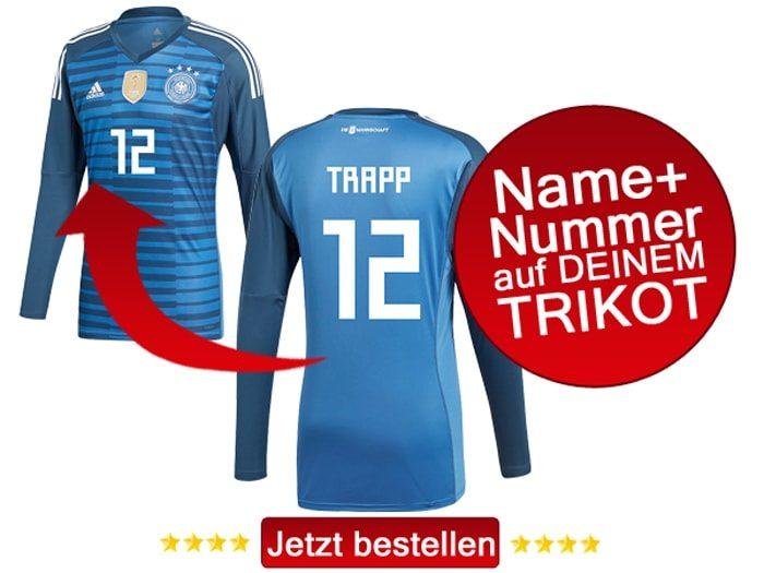 Das neue DFB Torwarttrikot von Kevin Trapp jetzt mit eigenem Namen und Trikotnummer personalisieren.