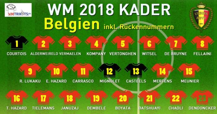 Das ist Belgiens WM Kader mit allen Rückennummern 2018.