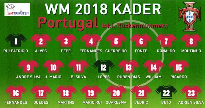 Das ist Portugals WM Kader mit allen Rückennummern 2018.
