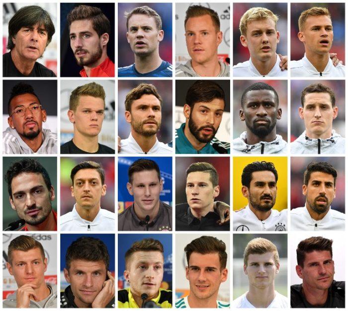 Jogi Löw und seine 23 Nationalspieler des WM Kaders 2018 für die Fußball WM 2018 in Russland / AFP PHOTO / -