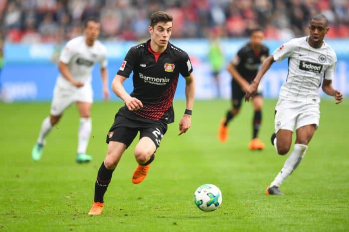 Leverkusen's Kai Havertz gegen Eintracht Frankfurtam 14. April 2018. / AFP PHOTO / Patrik STOLLARZ /