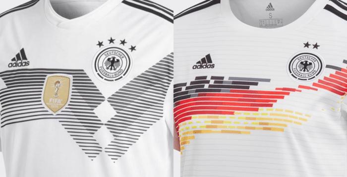 DFB Trikot 2018 und 2019 im Vergleich: Links das Herren WM Trikot 2018, rechts das WM Trikot der Damen 2019