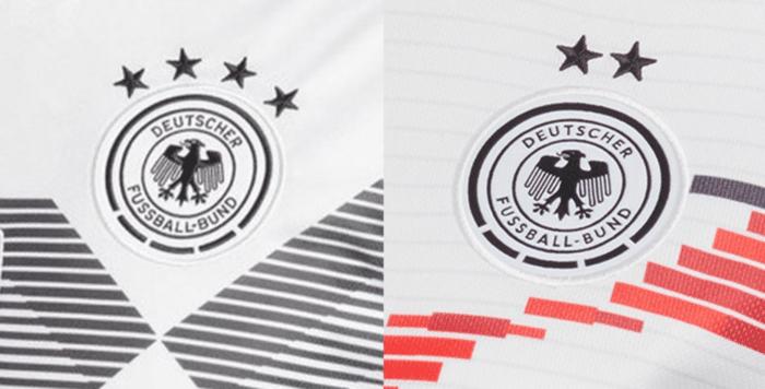 Links die vier WM Sterne der Männer, rechts die zwei WM Sterne der Damen auf den aktuellen DFB Trikots.