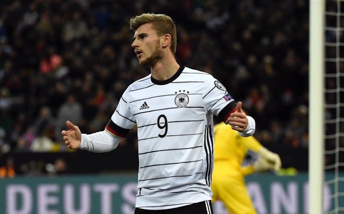 Timo Werner mit der Rückennummer 9 im neuen DFB Trikot 2020 (Photo by INA FASSBENDER / AFP)