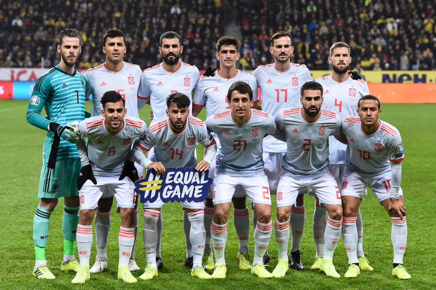 Spaniens Nationalmannschaft gegen Schweden im Oktober 2019. (Photo by Jonathan NACKSTRAND / AFP)
