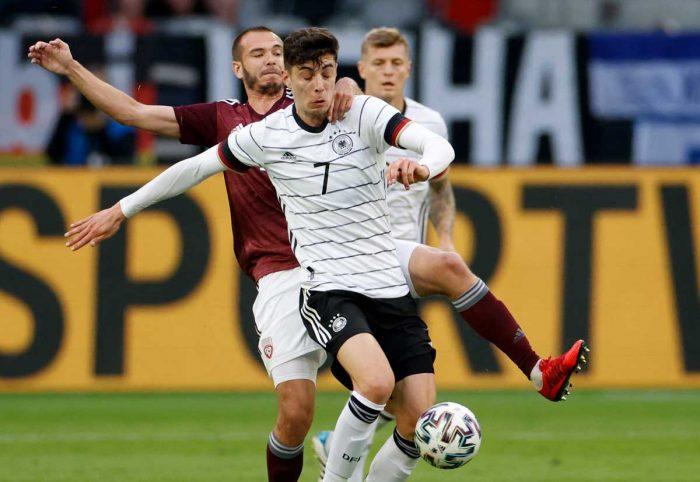 Deutschlands Mittelfeldspieler Kai Havertz (mit der Nummer 7 auf dem Deutschland Trikot 2021 während des Fußball-Freundschaftsspiels zwischen Deutschland und Lettland in Düsseldorf, Westdeutschland, am 7. Juni 2021, in Vorbereitung auf die UEFA-Europameisterschaft. Odd ANDERSEN / AFP