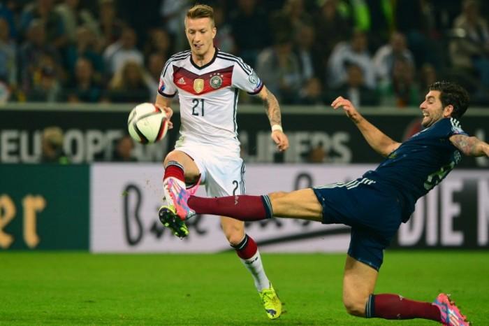 Marco Reus im DFB Trikot 2014 nach der WM gegen Argentinien - er trug die Rückennummer 21 (Foto AFP)